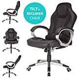 RayGar Black Deluxe Padded Sports Racing Chair Gaming Executive Swivel Computer Desk Recliner