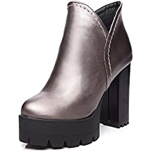 AgooLar Damen Rund Zehe Hoher Absatz Weiches Material Reißverschluss Niedrig-Spitze Stiefel, Schwarz, 33