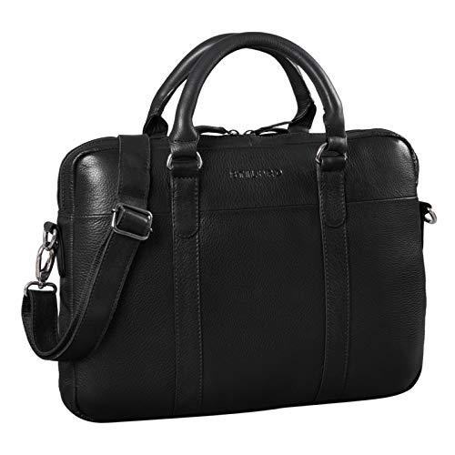 STILORD 'Laslo' Businesstasche Leder Groß für Herren 13,3 Zoll Laptop-Tasche DIN A4 Hochwertig Vintage Handtasche Umhängetasche Schultertasche Echtleder, Farbe:Obsidian schwarz