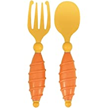 Baby Kids Fork and Spoon Set- Soft, Easy To Grasp Handles Sized Just Right For Little Hands