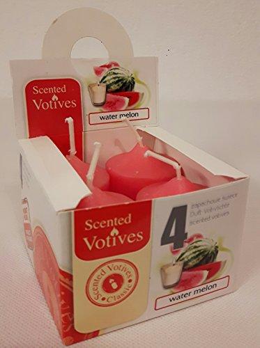 Kerzen für Glas 4 Stück / Votiv-Kerzen / Duftkerzen: Water Melon -