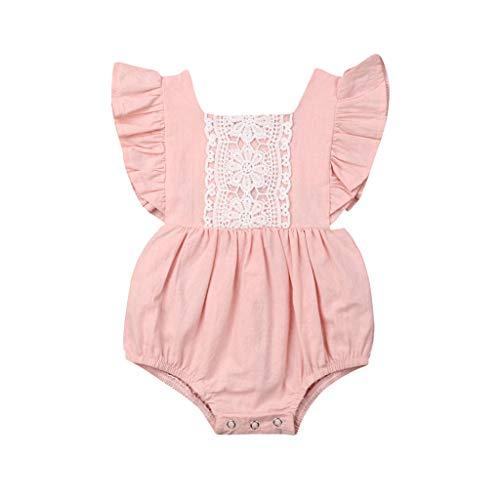 Patifia Baby Mädchen Strampler Fliegender Ärmel Geraffte Spitze Kleidung Rückenfreies Prinzessin Spielanzug Bodysuit für 0-24 Monate -