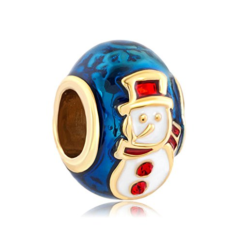 LuckyClover, Weihnachts-Schmuck, Schneemann-Anhänger, passend für Pandora-Armbänder