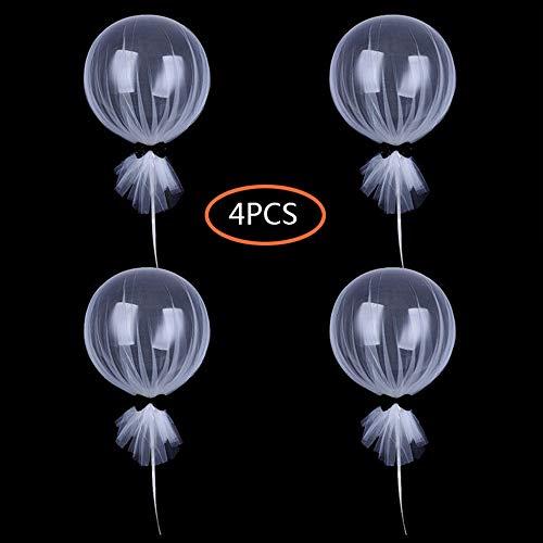 Junenoma 12 Zoll Party Luftballons Tüll Tutu Luftballons Runde klare Luftballons mit Säule Base Kit für Party Baby Dusche Mittelstücke Geburtstag Hochzeitsdekoration,White,4PCS