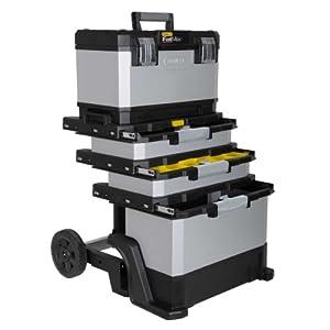 Stanley FatMax Rollende Werkstatt aus Metall-Kunststoff 1-95-622 - Werkzeugwagen leer - Vielseitige Werkzeugbox für Kleinteile und große Werkzeuge