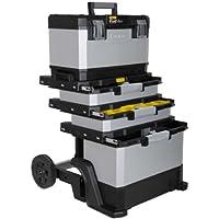 Stanley FatMax Rollende Werkstatt aus Metall-Kunststoff 1-95-622/Werkzeugwagen leer/Vielseitige Werkzeugbox für Kleinteile und große Werkzeuge