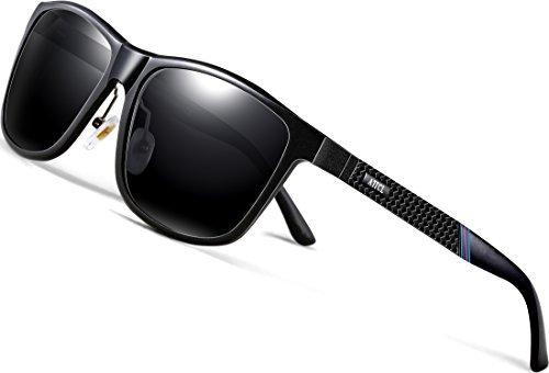 40056cee7430d ATTCL Men s Driving Polarized Sunglasses Al-Mg Metal Frame Ultra Light  858-8 Black