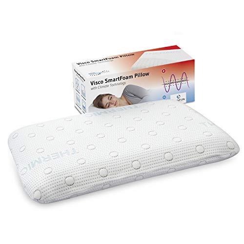 Third of Life Kopfkissen MIZAR für Bauchschläfer, orthopädisches Bauchschläferkissen mit zertifizierter Ergonomie aus weichem Visco-Schaum von nur 7 cm Höhe, mit Klima-Bezug, 60 x 40 x 7 cm