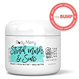 Body Merry Stretch Marks Cream - Daily Moisturizer with Organic Cocoa Butter + Shea + Plant Oils + Vitamins to Prevent, Reduce and Fade Away Old or New Scars - Best for Pregnancy, Men/ Bodybuilders