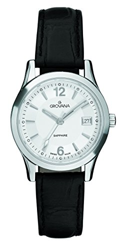 GROVANA 3209.1532 women's quartz Watch with silver Dial analogue Display and black leather Strap 3209.1532