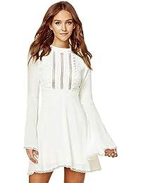 HF morning Fashion Sexy Dress Einfarbig Damen Kleider Trompetenärmel  Minikleid Langarm Reizvolle Kleid Slim Fit Rundhals 883b7f2bb8