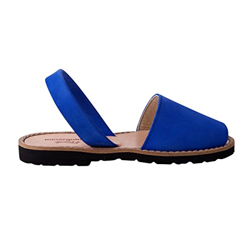 Minorquines - Sandales Avarca Nubuck Bleu Ocean - Enfant Bleu