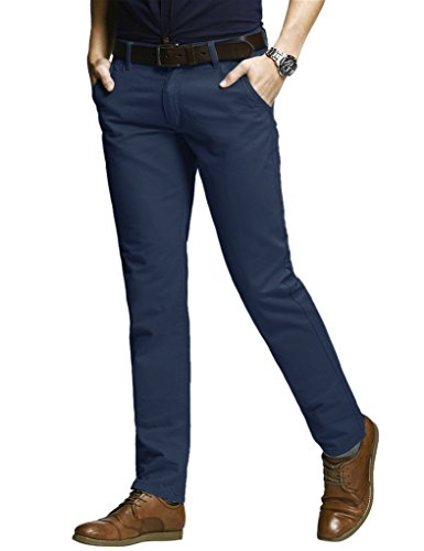 Match Herren Slim-Tapered Flat-Front Casual Hose #8050(8050 Navyy blau#1,36) (Flat Baumwolle Front Pants Work)