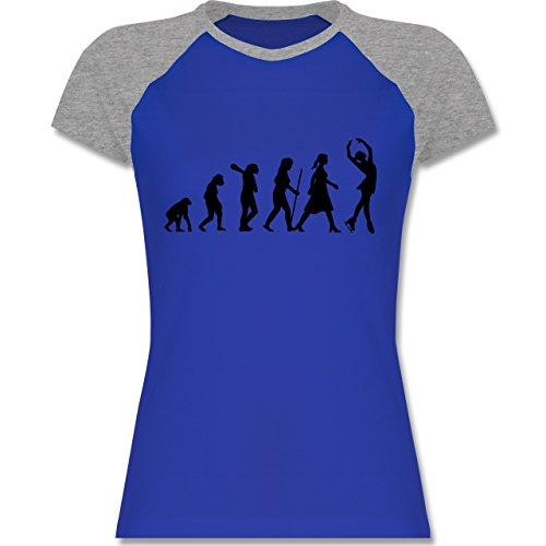 Evolution - Eisläuferin Evolution - zweifarbiges Baseballshirt / Raglan T-Shirt für Damen Royalblau/Grau meliert