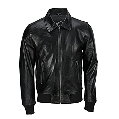 Mens Black Soft Real Leather Vintage Classic Bomber Style Biker Jacket All Sizes [With Collar,M] by XPOSED