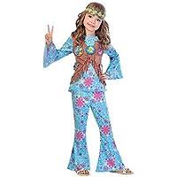 Ragazze Blu Floreale Hippie Hippy Anni  60 1960s Anni SESSANTA Decades Costume  Vestito Festival Carnevale 2e8c48335a7