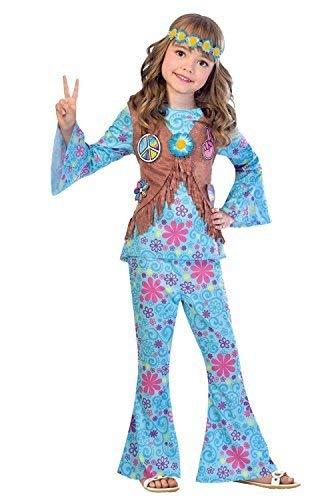 Fancy Me Mädchen blau Blumen Hippie Hippy 60s Jahre 1960s Jahre Sechziger Jahrzehnte Kostüm Kleid Outfit Festival-Karneval 6-12 Jahre - 6-8 Years (Blume 1960 Kind)
