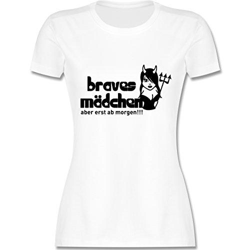 Kostüm Frau Satans - JGA Junggesellinnenabschied - Braves Mädchen - Aber erst ab Morgen - S - Weiß - L191 - Damen Tshirt und Frauen T-Shirt