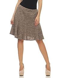 f45ce7294f84 Malito Damen Rock im melierten Design   Glockenrock mit dehnbarem Bund    Winterrock mit Falten