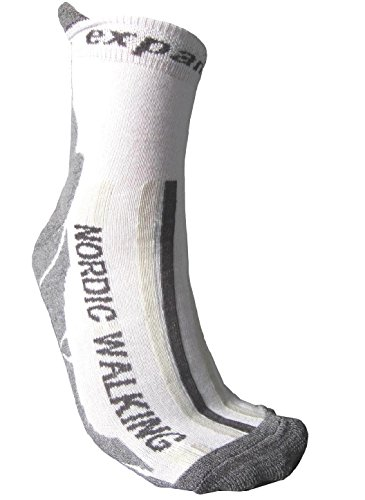 eXPANSIVE étendu de Marche Nordique Trekking Chaussettes Coolmax Blanc 100/07 Taille UK 2,5–5 (EUR 35–38)