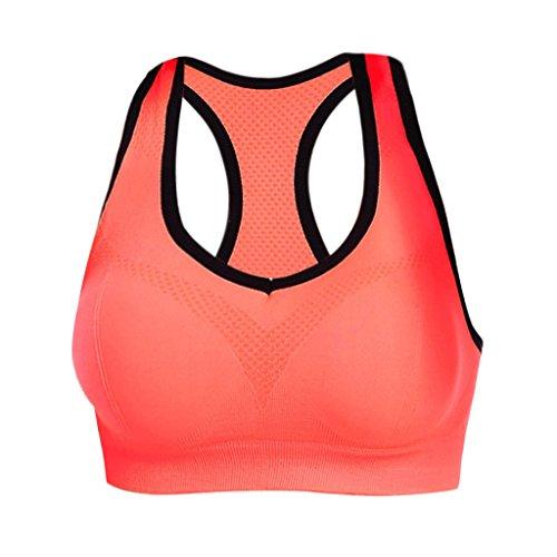 Generic Attiva U-collo Tagliato Spingono Verso L'alto Filo Senza Soluzione di Continuità Reggiseno Bra di Yoga per Donne Arancione