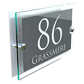 MODERN HOUSE SIGN PLAQUE DOOR NUMBER STREET GLASS EFFECT ACRYLIC ALUMINIUM NAME PARA5-28WA-S-C