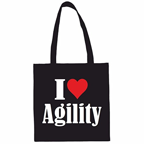 Sac à Bandoulière I Love Agility Shopping Bag Sac d'école Sac de Sport 38x 42cm en Noir ou Blanc.. Le cadeau parfait pour votre amoureux