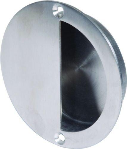 Flush Stahl Tür (JJOnlineStore–Stahl Tür Griff Flush Einbauleuchte Pull poliert Finish mit Befestigungsschrauben Roller fängt Schiebetüren–Zirkular verdeckt)