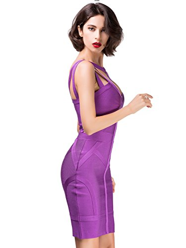 Alice & Elmer Women's Rayon Mini Cocktail Bandage Bodycon Vestito Vestiti Purple