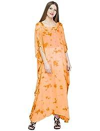 d76f167785 SKAVIJ Womens Soft Beach Cover Up Embroidered Rayon Tie-dye Long Kaftan  Maxi Dress Green