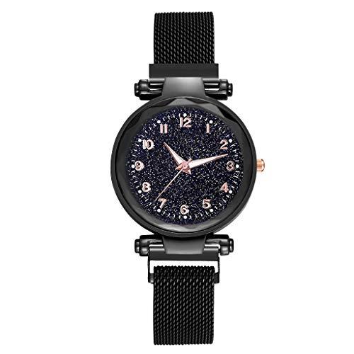 Saingace(TM) Damen Armbanduhr Elegante Quarzuhr Mode Einfache Sternenklare Zifferblatt Edelstahl Mesh Gürtel Damen Quarzuhr Geschenk