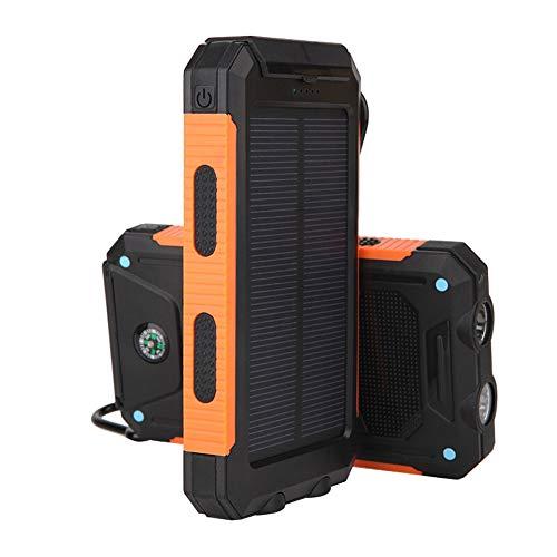 00mAh Tragbare Solar Power Bank LED Taschenlampe Dual USB 2.1A IP67 Wasserdichtes Solar Ladegerät für iPhone, iPad, Samsung, Smartphones und mehr,Orange ()