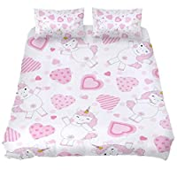 Josidd King Size Bedding Set with Zipper Closure, Pink Hearts With Unicorns Duvet Cover and 2 x Pillowcase, Ultra Soft Microfiber