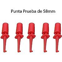 5x Punta Roja de Prueba Redonda con Gancho 58mm. Test Hook Clip