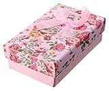 ROUHO Blume Bowknot Halskette Ohrringe Ring Schmuck Geschenk Papier Box Case-Rosa