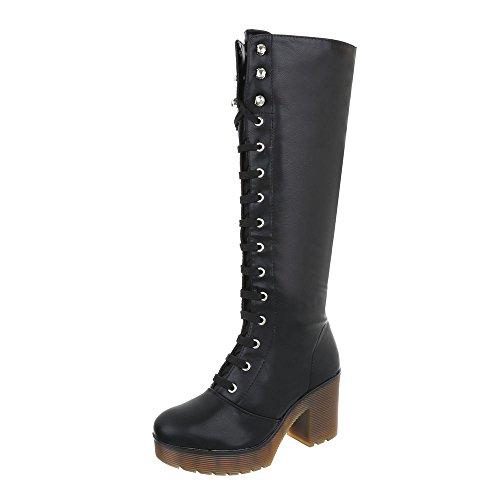 Scarpe da donna Stivali tacco a blocco Stivali con Laccio Ital-Design nero A-37-1