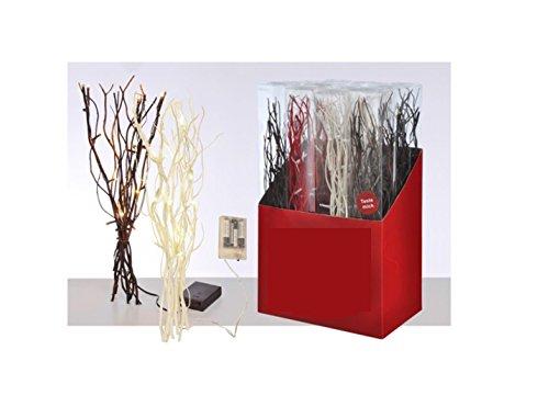 Meinposten Lichterzweige 40 cm braun Creme weiß rot Lichterkette Zweige 12 LED warmweiß (Rot) -
