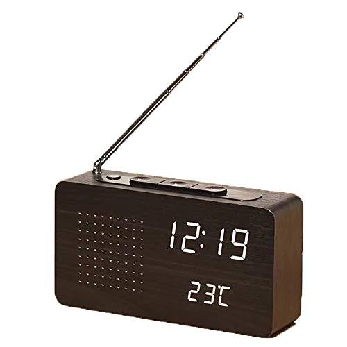 NBWS FM Radiowecker, LED Digitaler Wecker mit Drei Gruppen von Alarmen,Holzmaserung elektronische Uhr mit Zeit/Temperatur/ Datum/Sound-Kontrollfunktion,12/24-Stunden - Schwarz