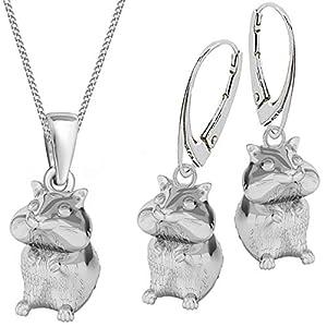 3d Hamster Brisur Ohrringe Kette 925 Echt Silber Kinder Mädchen Damen Maus Set