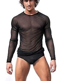 YiZYiF Herren Slim Fit Transparent Glatt Gaza T Shirt Tops Unterwäsche  Reizwäsche M L XL Langarm 52edbaea81