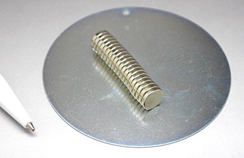 20 extra starke Mini Magnete - sehr klein - 10x2 mm - mit runder Platte zum praktischen Aufbewahren