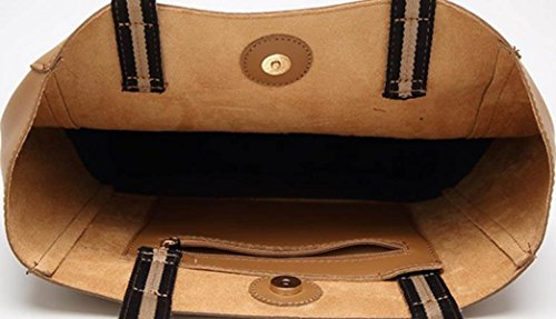 Donna PU Leather Borsa Di Tote Cucitura Borsa A Tracolla Moda Borsetta Includi Una Frizione Brown