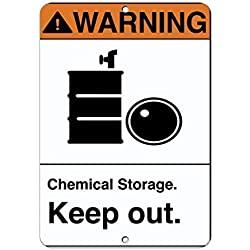 Vivityobert Panneau d'Avertissement en Vinyle pour Stockage de Produits Chimiques Keep Out - Panneau d'Avertissement en métal et Aluminium - 20,3 x 30,5 cm