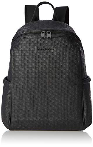 Armani Exchange - Metal Logo Patch Backpack, Mochilas Hombre, Negro (Black Check),...