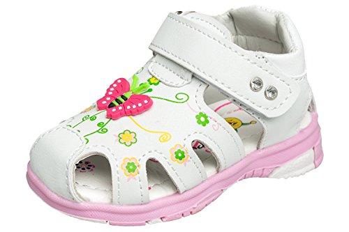 gibra Mädchen Sandalen für Babys und Kleinkinder, Art. 2337, mit Klettverschluss, Weiß, Gr. 22 (Mädchen Sandalen Kleinkinder)