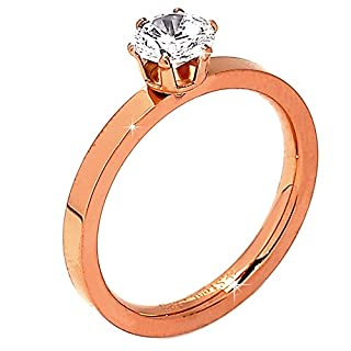 Beloved ❤ ️ Women's Solitaire Ring, Model Sissi in Rose Gold with Rhodium Plating, Stainless Steel with 6mm Central Diameter Solitaire Crystal Equivalent to 0.90ct