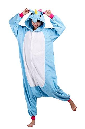Wamvp Pyjama Licorne Adulte Kigurumi Combinaison Animaux Costume -Bleu M