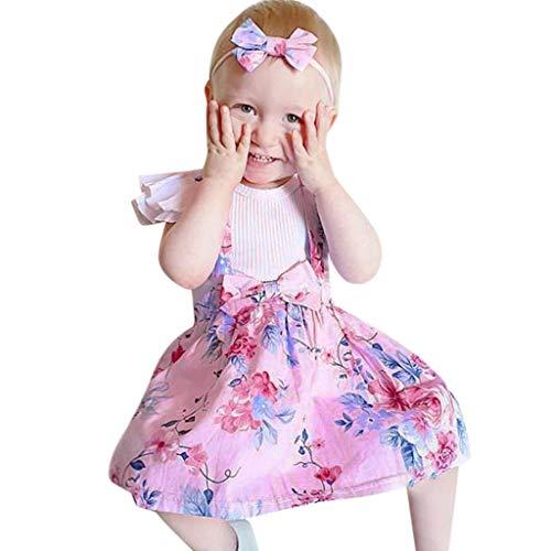 (12M-4Y) Kinder Mädchen Rüschen Kragen Top + Riemen Rock Haarriemen, 3-teiliges Set, Kleinkind Cosplay Kostüm, Zuhause, Alltag, Party, Geburtstag, Halloween Gr. 90 cm, Rose (3 Teiliges Rüschen Kostüm)