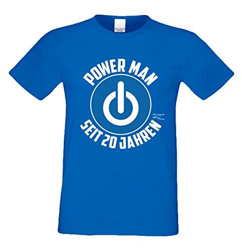 Geschenk für Männer zum 20. Geburtstag :-: Herren T-Shirt als Geschenkidee für Ihn zum runden Geburtstag :-: Power Man seit 20 Jahren .. Farbe: royal-blau Royal-Blau