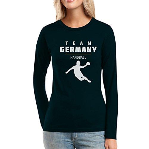Team Germany Handball Fan Shirt Olympische Spiele Frauen Langarm-T-Shirt Large Schwarz